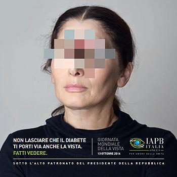 immagine della copertina dell'invito IAPB per la Giornata mondiale della vista: Non lasciare che il diabete ti porti via anche la vista. Fatti vedere
