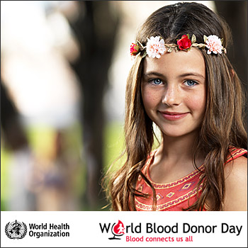 immagine della campagna del World Health Organization -  World Blood Donor Day 2016: Blood connects us all