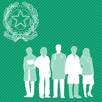 illustrazione con stella della Repubblica e gruppo di persone raffiguranti le professionalità sanitarie