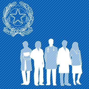 Stella della Repubblica italiana e gruppi di persone con i camici raffiguranti le professioni sanitarie