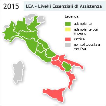 Cartina Italia Con Legenda.Livelli Essenziali Di Assistenza 11 Le Regioni Adempienti Nel 2015 In Base Alla Griglia Lea