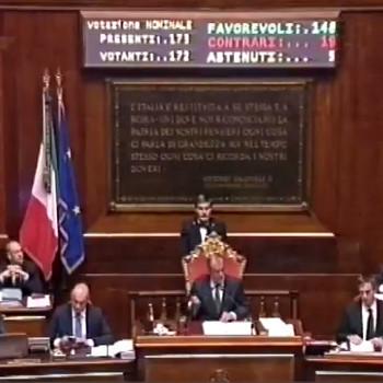 immagine della votazione in Senato
