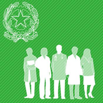 Stella della republica e gruppo di persone raffiguranti le professioni sanitarie