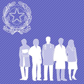 Stella della Repubblcia e gruppo di persone raffiguranti le professioni sanitarie