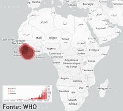 Immagine raffigurante la mappa della diffusione Ebola in Africa