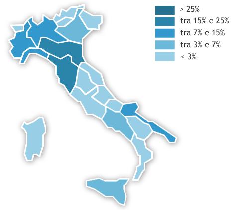 Mappa dei consumi regionali Anno 2018