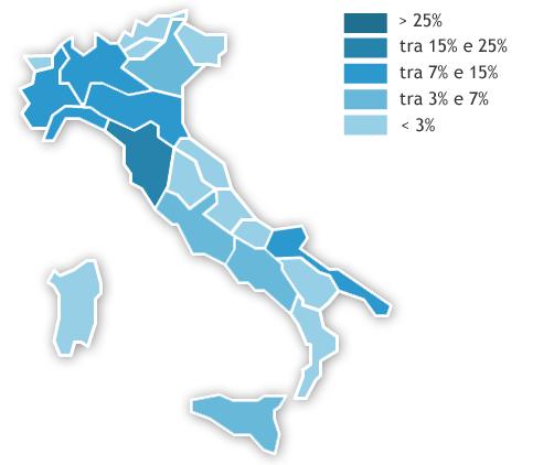 Mappa dei consumi regionali Anno 2019