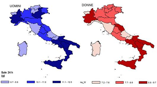 Figura 1 - Valori medi del consumo giornaliero di sale (g) per Regione, in un campione rappresentativo della popolazione adulta italiana, uomini e donne 35-79 anni – Progetto MINISAL-GIRCSI 2009-2012